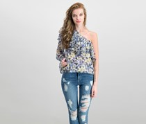 Lucky Brand One-Shoulder Tiered Flounce Top, Blue Combo
