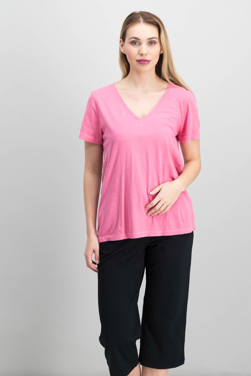Cotton Splice-Back Graphic T-Shirt, Pink