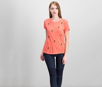 Lucky Brand Embroidered Pineapple T-Shirt, Coral