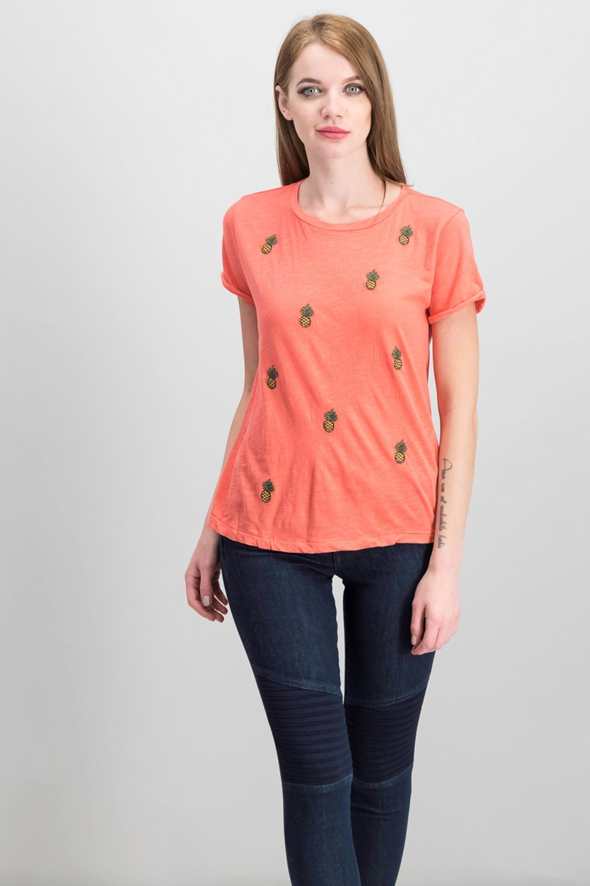 Embroidered Pineapple T-Shirt, Coral