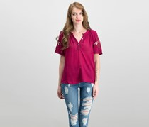 Lucky Brand Cotton Embroidered-Sleeve Henley Top, Beet Red