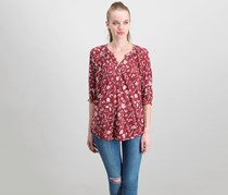 Lucky Brand Floral-Print Top, Red Combo