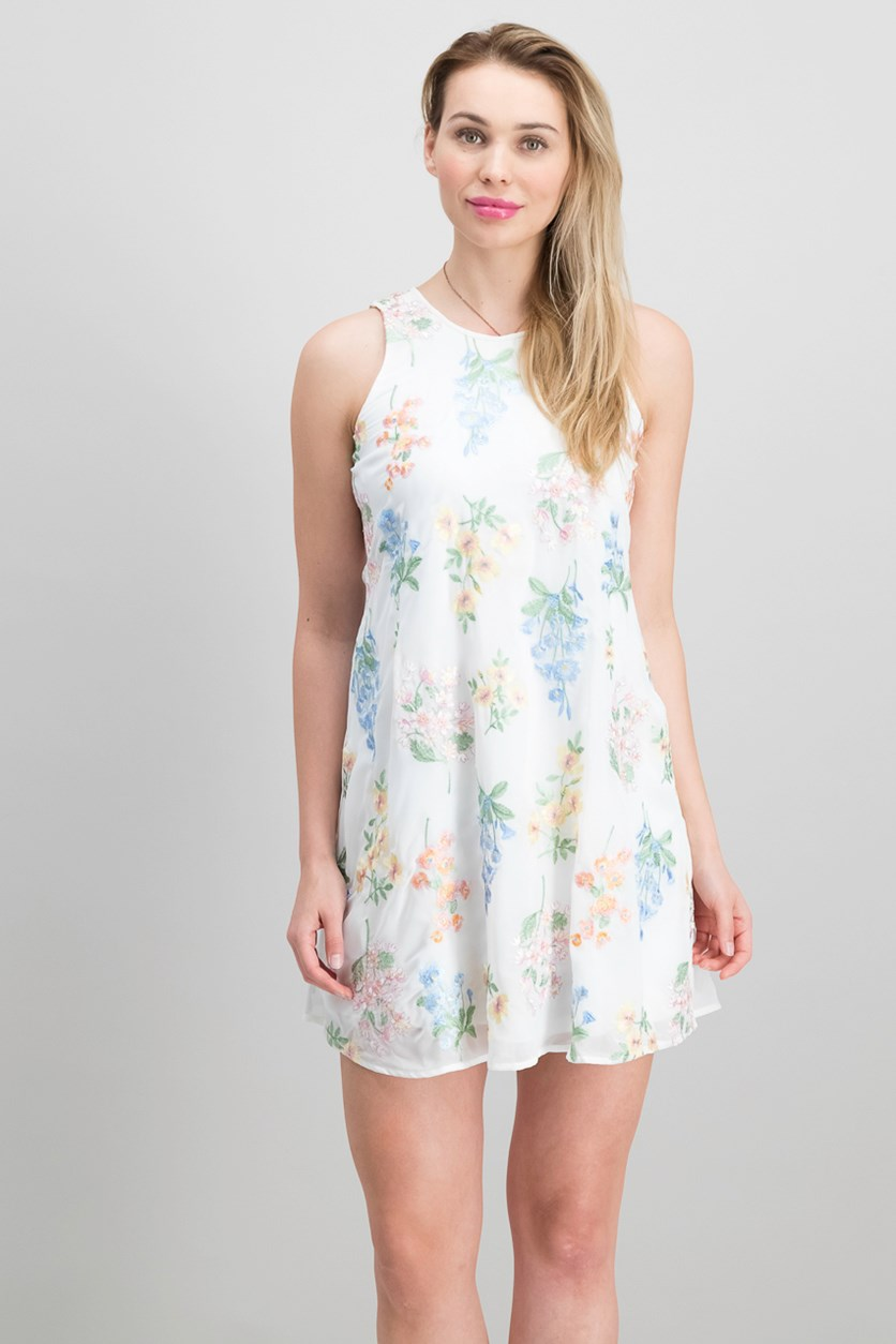 Floral-Embroidered Shift Dress, White