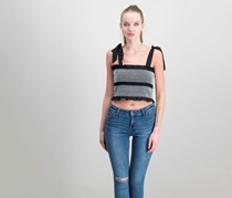 GUESS Sicily Smocked Cotton Crop Top, Jet Black
