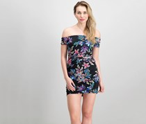 Guess Women's Floral Off-The-Shoulder Dress, Black