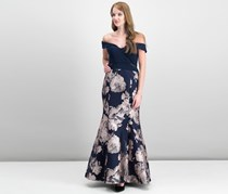 Xscape Petite Off-The-Shoulder Mermaid Gown, Navy/Blush