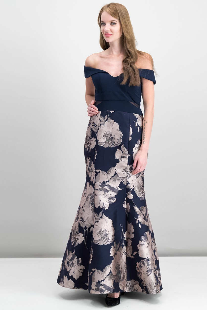 Petite Off-The-Shoulder Mermaid Gown, Navy/Blush