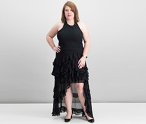 Ruffled Halter High-Low Gown, Black
