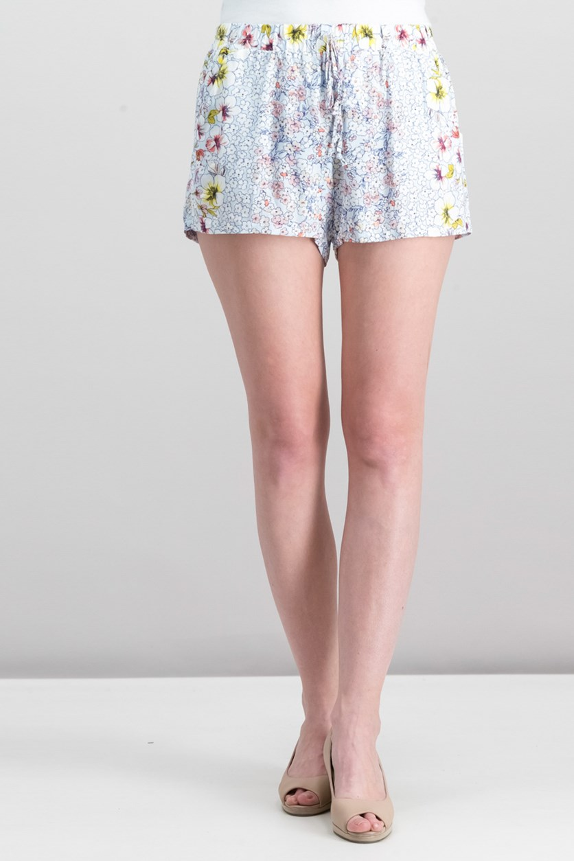 Juniors' Soft Floral-Print Shorts, Sky/Yellow