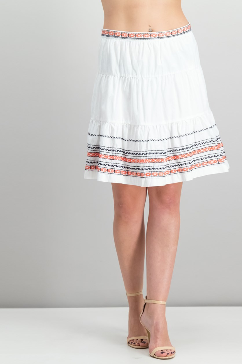 Cotton Embroidered Skirt, Ivory
