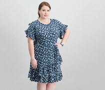 Michael Kors Plus Size Floral-Print Ruffle-Trimmed Dress, True Navy/Light Chambray