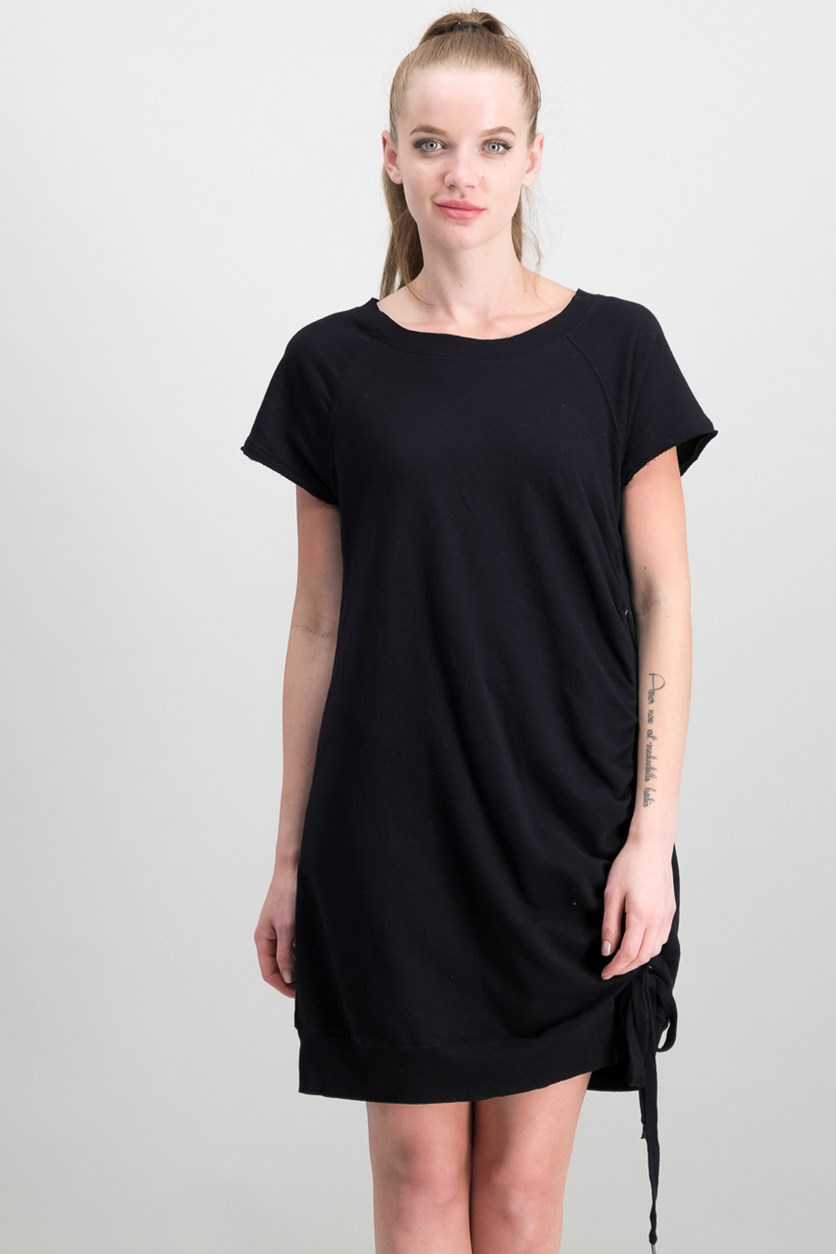 Cotton Lace-Up T-Shirt Dress, Black