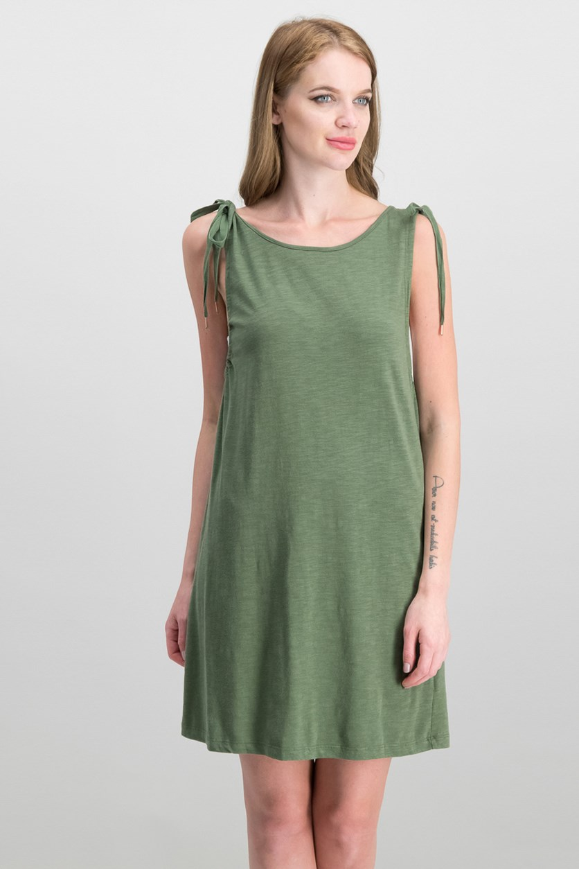 Midsummer Tie-Shoulder Dress, Cadet