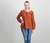 Sanctuary Red Rock Cotton Lace-up Tassel-Trim Top, Terracotta