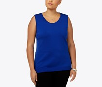 August Silk Plus Size Sleeveless Top, Blue Burst