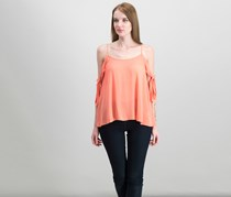 Mossimo Women's Woven Cold Shoulder Top, Coral