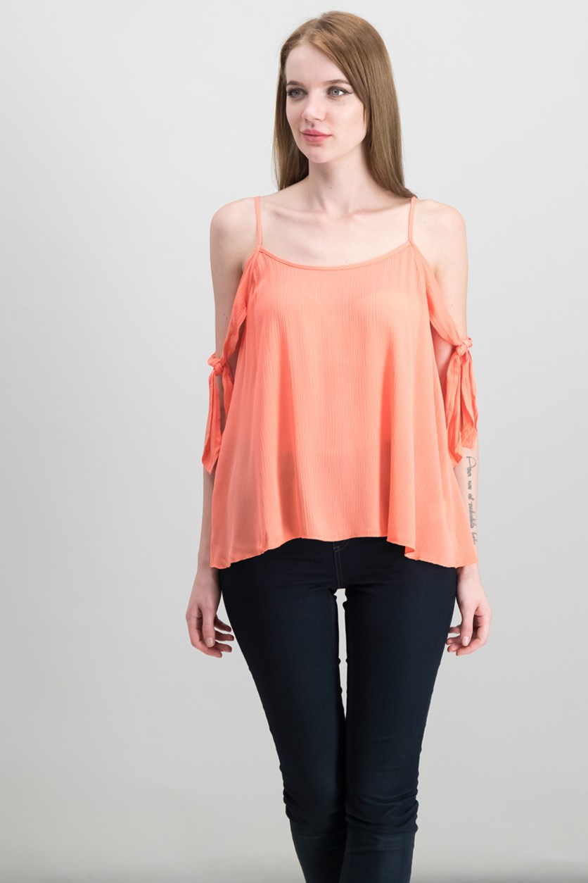Women's Woven Cold Shoulder Top, Coral