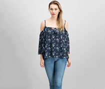 Grayson Threads Floral Cold Shoulder Tassel Top, Black