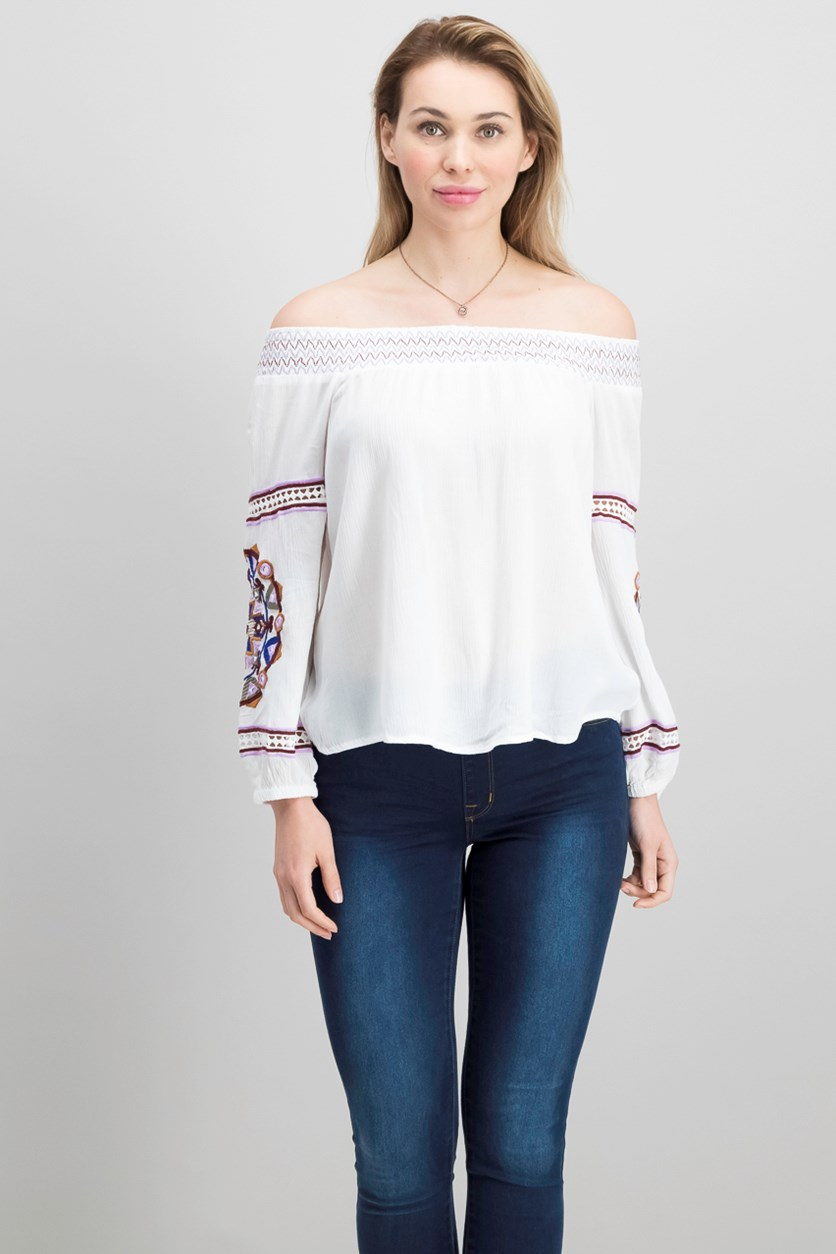 International Concepts Petite Embroidered Off-The-Shoulder Top, Tribal Wheel/White