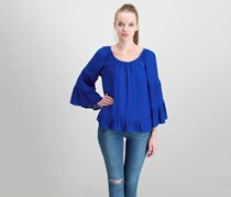 INC Women's Petite Tiered Sleeves Peasant Top, Bright Blue