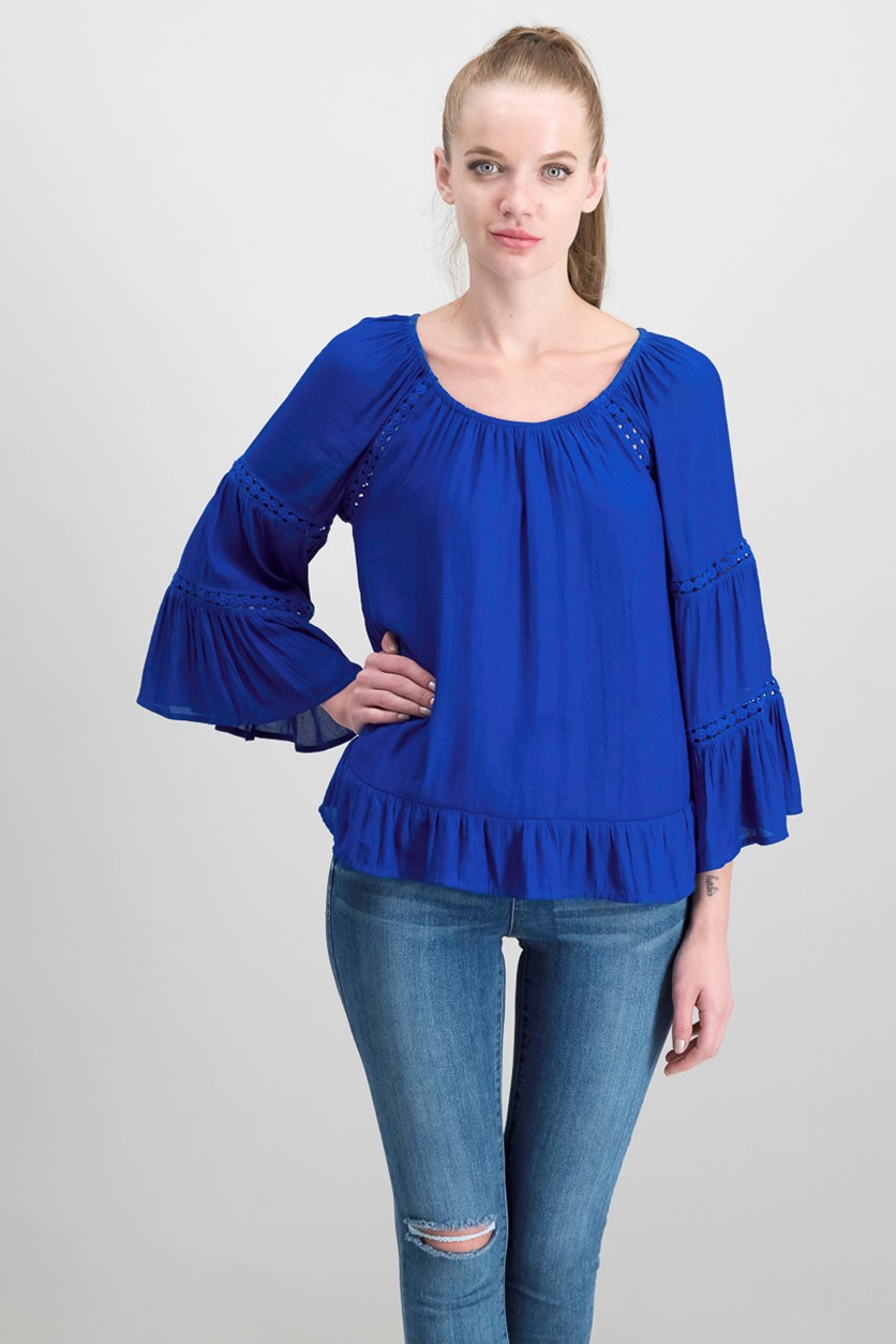 Women's Petite Tiered Sleeves Peasant Top, Bright Blue