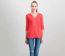 JM Collection Petite Crochet-Lace Top, Red Crystal
