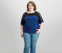 JM Collection Plus Size Colorblock Lattice-Sleeve Tops, Pompador Blue