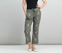 Inc International Concepts Embroidered Cuffed Drawstring Pants, Olive Drab