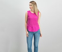 Maison Jules Lace Layered-Look Top, Bold Berry