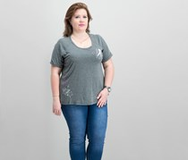 Ideology Breast Cancer Research Foundation Plus Size T-Shirt, Charcoal Heather
