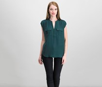 Inc International Concepts Mixed-Media Utility Shirt, Forest