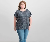 Ideology Plus Size Essential Printed Cross-Back T-Shirt, Speckled Night