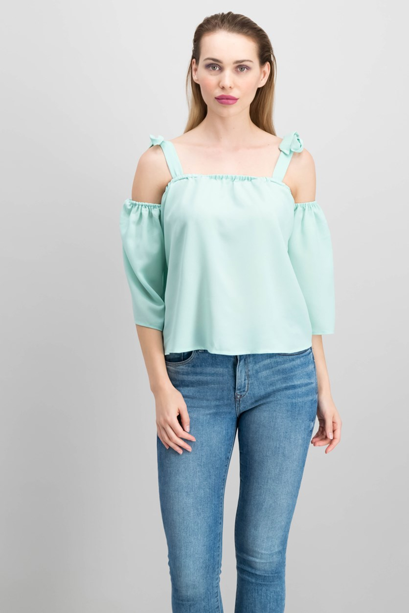 Cold-Shoulder Top, Turquoise