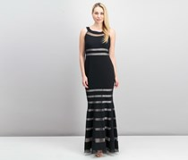 JS Collections Women's Sheer Striped Floor-Length Gown, Black