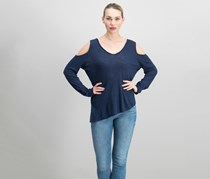INC Cold-Shoulder T-Shirt, Deep Twilight