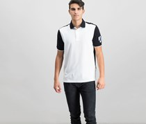 Club Room Mens Embroidered Crest Polo, Deep Black Combo