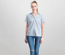 Karen Scott Petite Cotton Seersucker Shirt, Intrepid Blue