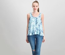 Style & Co Petite Printed Button-Front Top, Intricate Tiles