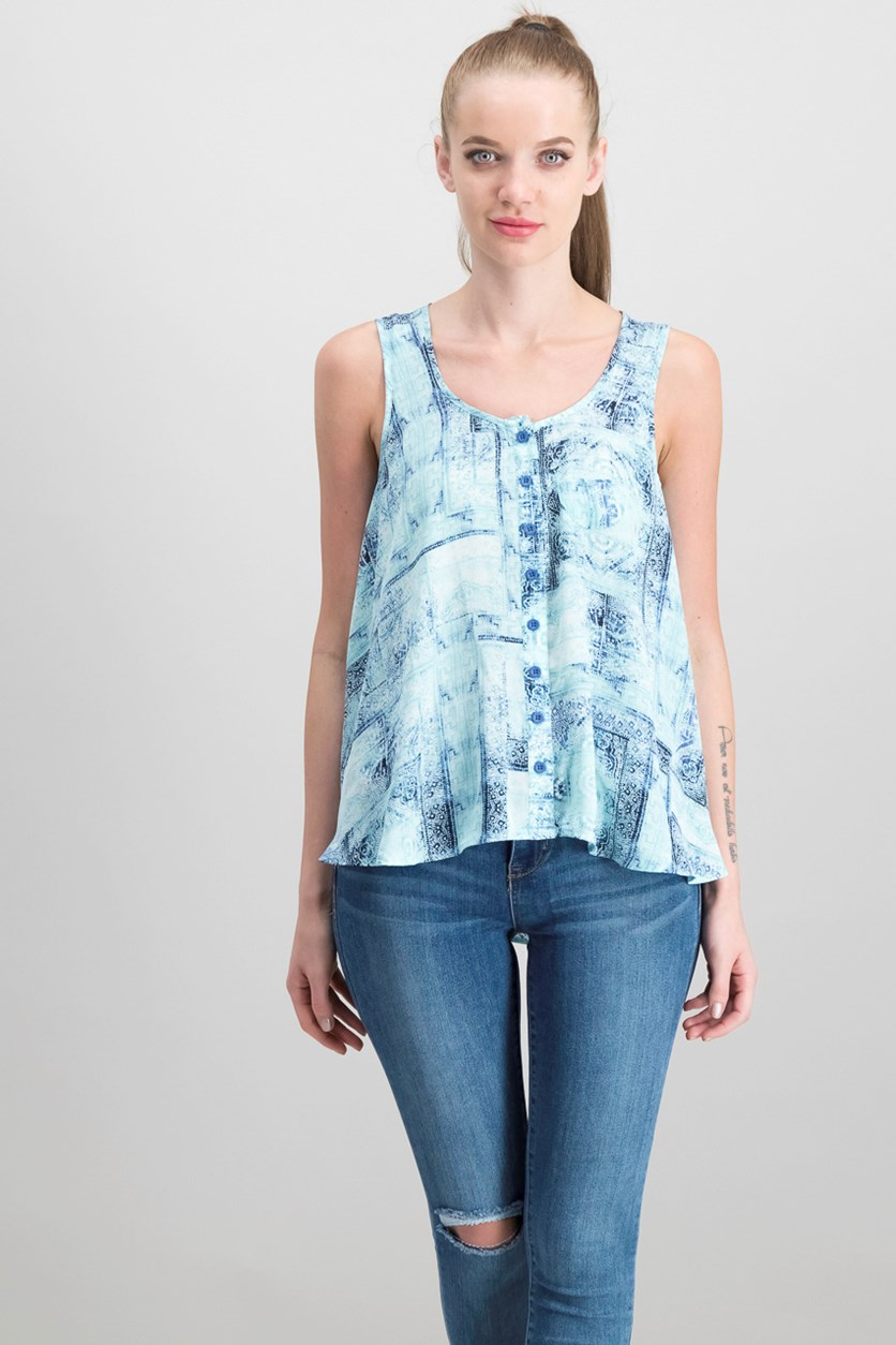 Petite Printed Button-Front Top, Intricate Tiles