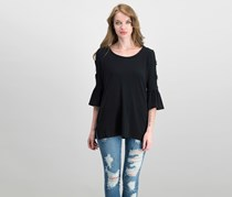 JM Collection Ring-Detailed Cutout Ruffle-Sleeve Top, Deep Black