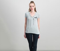 Rebellious One Juniors Graphic Lace-Up T-Shirt, Heather Grey