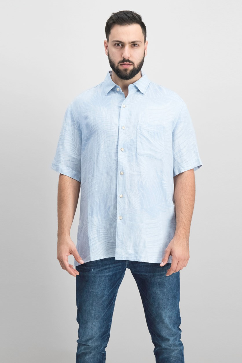 Men's Fern Leaf Jacquard Shirt, Light Blue