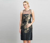 Betsey Johnson Metallic Floral Sheath Dress, Black/gold