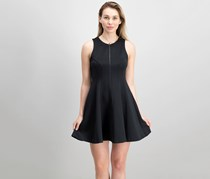 Women's Zip-Up Scuba Fit & Flare Dress, Black