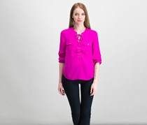 Inc Petite Roll-Tab-Sleeve Lace-Up Tops, Magenta Flame
