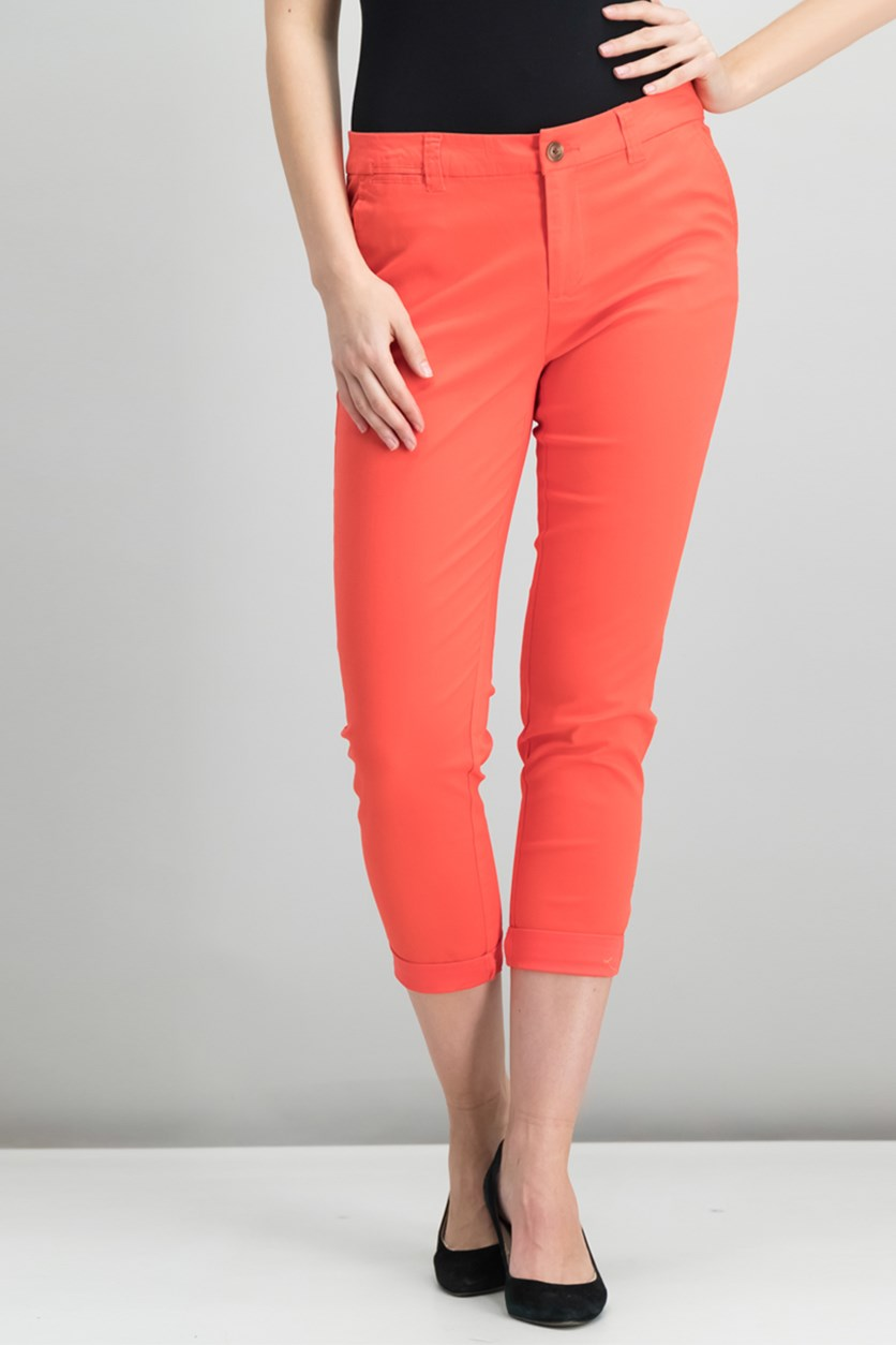 Cropped Straight-Leg Lou Lou Pants, Cayenne