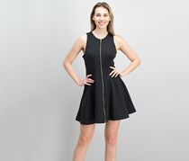 Bar III Zip-Front Fit Flare Scuba Dress, Black