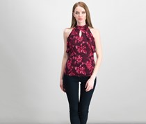 International Concepts Petite Printed Top, Port