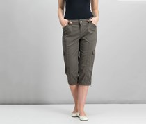 Style & Co Petite Bungee-Hem Cargo Capri Pants, Brown Clay