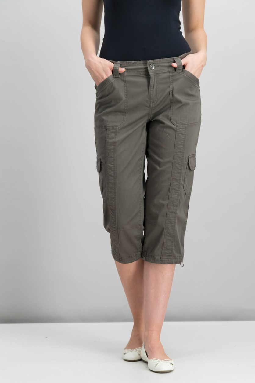 Petite Bungee-Hem Cargo Capri Pants, Brown Clay